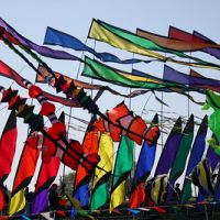 Brightly colored festival flags