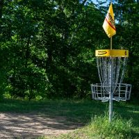 disc golf course and basket