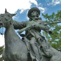statue of kit carson on a horse
