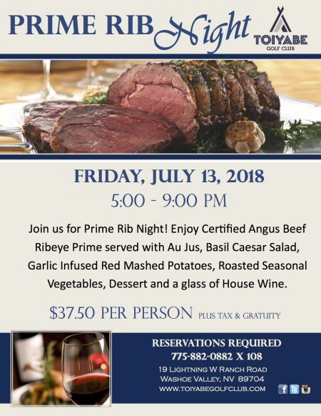 Toiyabe Golf Club, Prime Rib Night