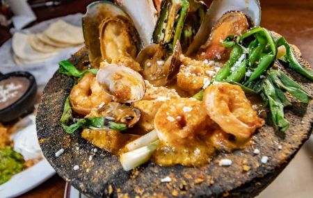 San Marcos Mexican Grill, LAVA ROCK MOLCAJETE FOR 2 (SEAFOOD)